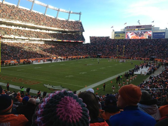 View from the lower level seats at Empower Field at Mile High during a Denver Broncos game.
