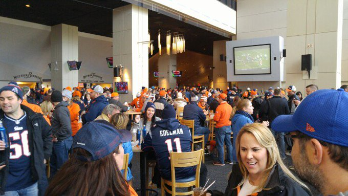 Interior photo of the United Club lounge at Empower Field at Mile High, home of the Denver Broncos.