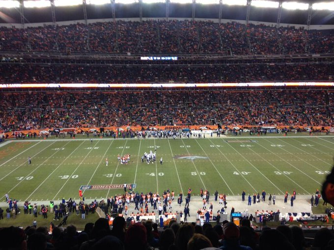 View from the United Club seats at Empower Field at Mile High during a Denver Broncos game.