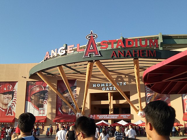 Photo of the main entrance to Angel Stadium of Anaheim. Home of the Los Angeles Angels.