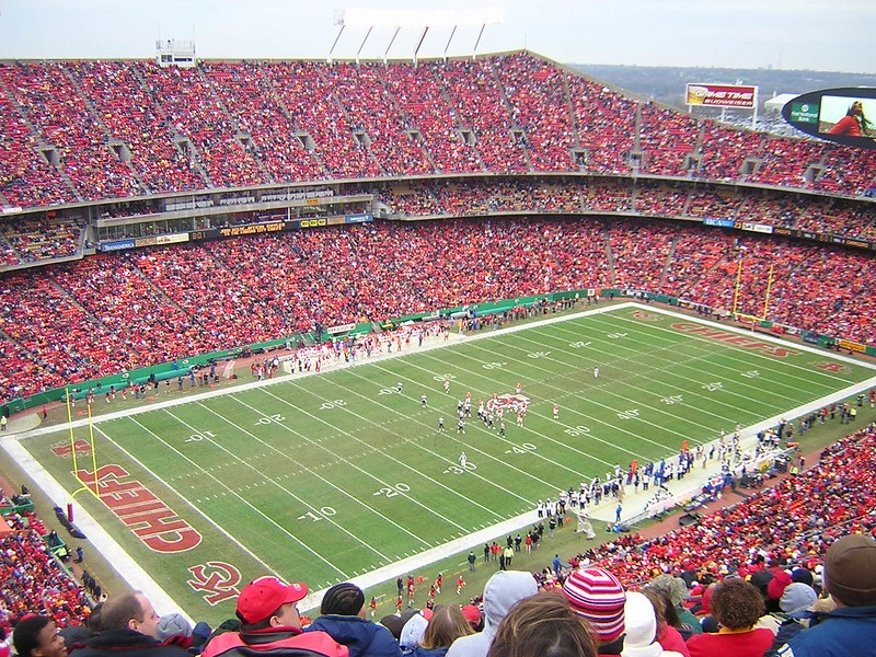 Photo taken from the upper level of Arrowhead Stadium during a Kansas City Chiefs game.