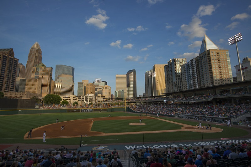 Photo of the playing field at BB&T Ballpark in Charlotte, North Carolina. Home of the Charlotte Knights.