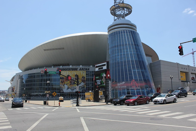 Exterior photo of Bridgestone Arena, home of the Nashville Predators.