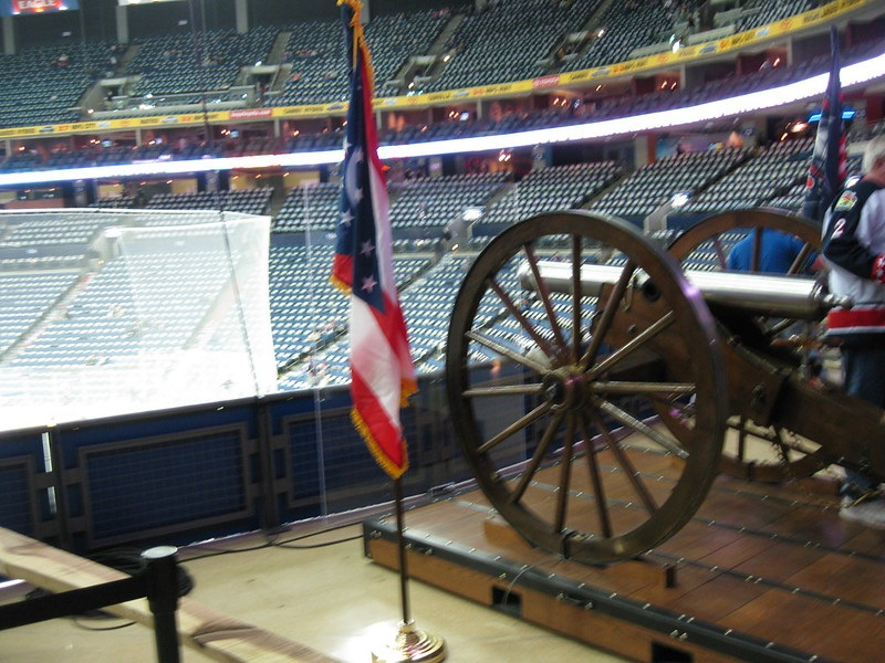Photo of the cannon display at Nationwide Arena, home of the Columbus Blue Jackets.