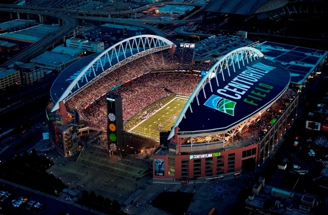 Aerial photo of CenturyLink Field in Seattle, Washington. Home of the Seattle Seahawks.