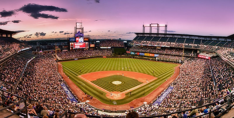 Photo taken from the upper level of Coors Field during a Colorado Rockies home game.