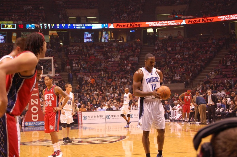 Photo taken from the courtside seats during an NBA game.