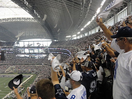Photo of Dallas Cowboys fans at AT&T Stadium.