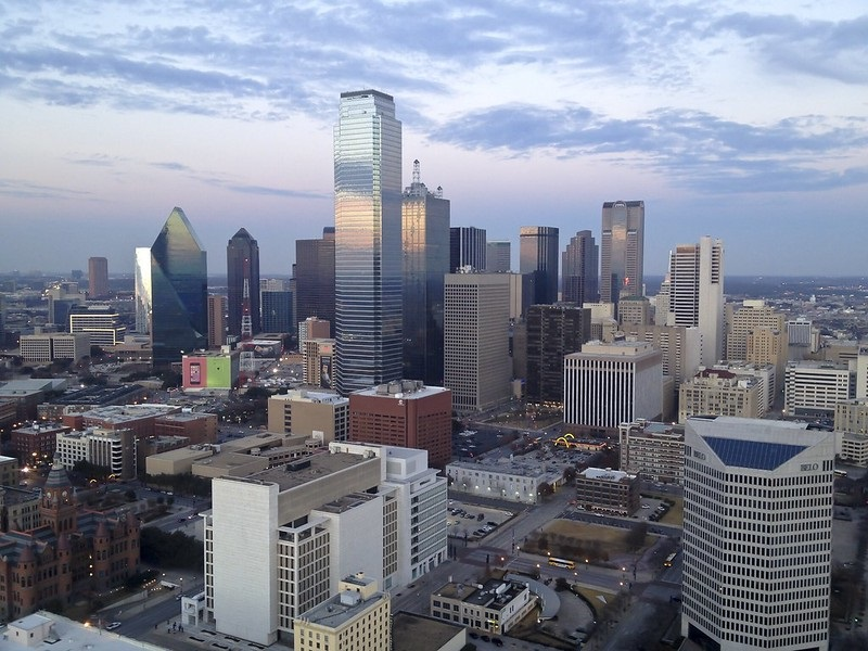 Photo of the Dallas, Texas downtown skyline.