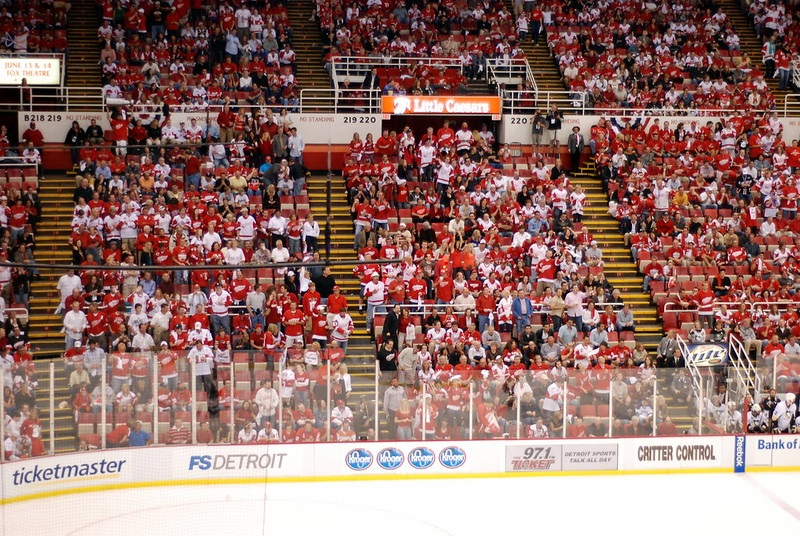 Photo of Detroit Red Wings fans in the stands at Joe Louis Arena.