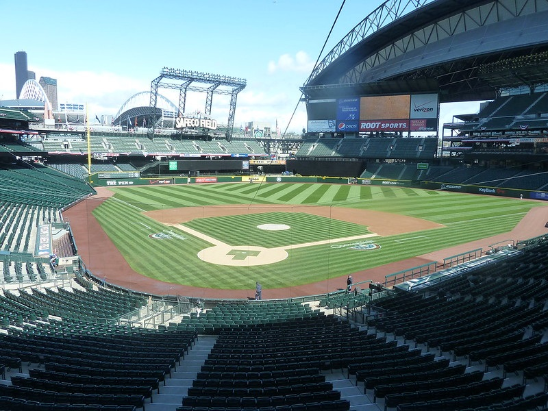 Photo of an empty Safeco Field on a sunny day. Home of the Seattle Mariners.