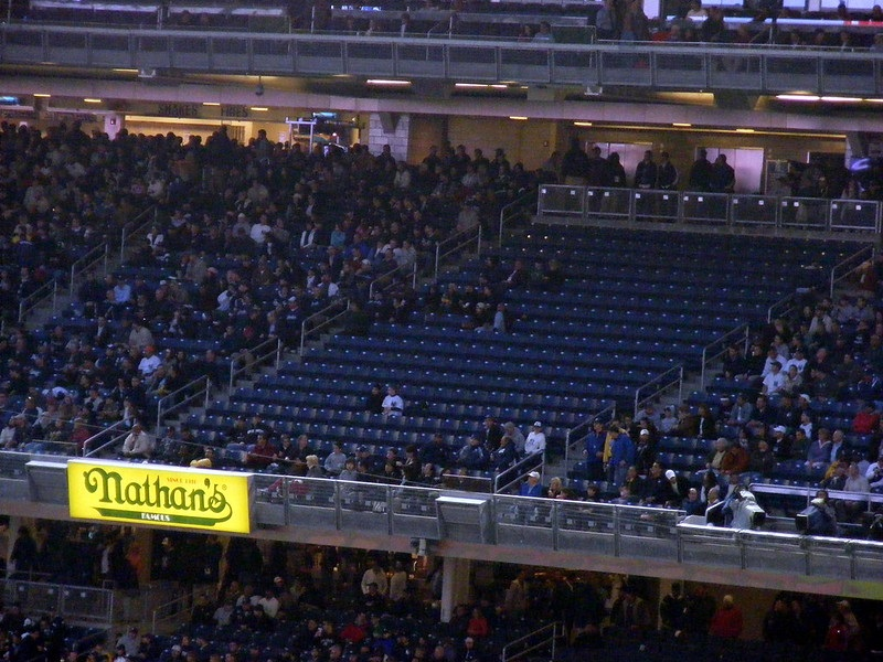 Photo of a poorly attended New York Yankees game at Yankee Stadium.