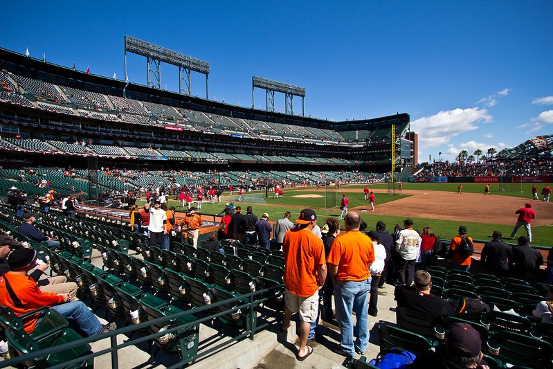 Photo of an almost empty Oracle Park during a San Francisco Giants home game.