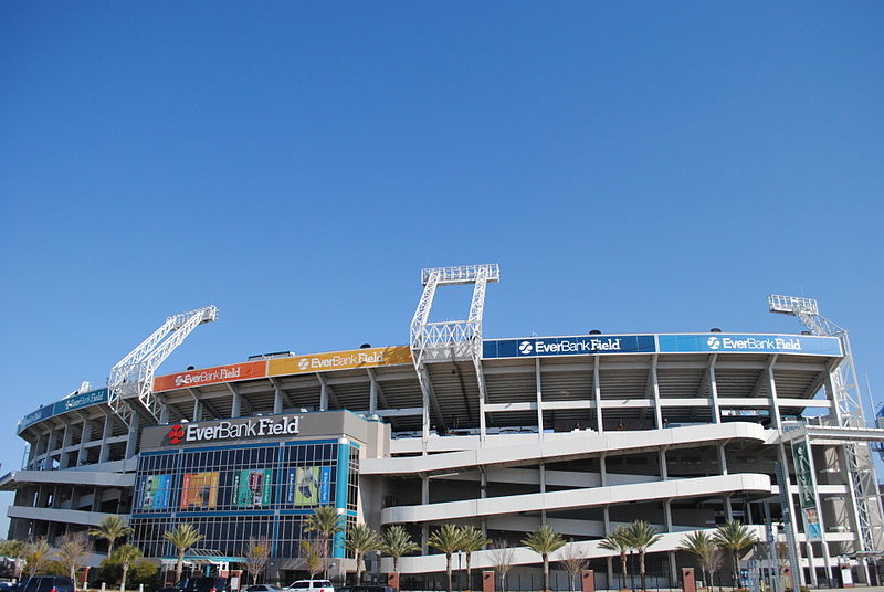 Exterior photo of Everbank Field. Home of the Jacksonville Jaguars.