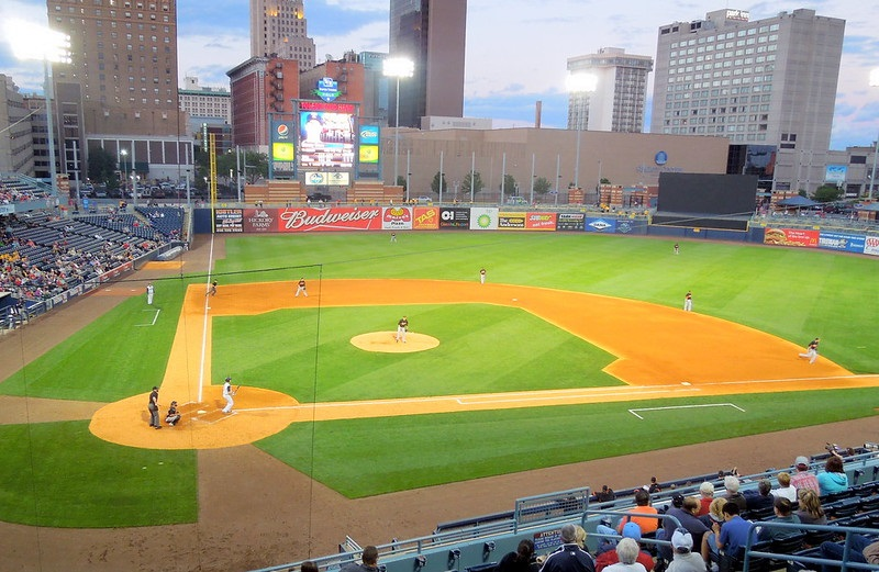 Photo of the playing field at Fifth Third Field in Toledo, Ohio. Home of the Toledo Mud Hens.