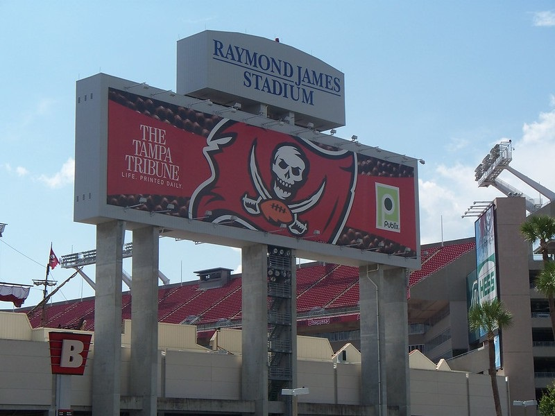 Photo of the Gate B entrance to Raymond James Stadium. Home of the Tampa Bay Buccaneers.