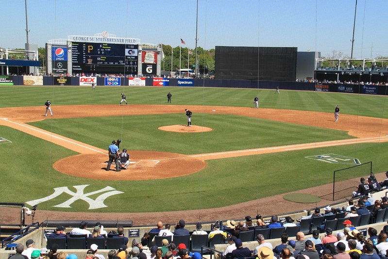 Photo of a New York Yankees spring training game at Steinbrenner Field.
