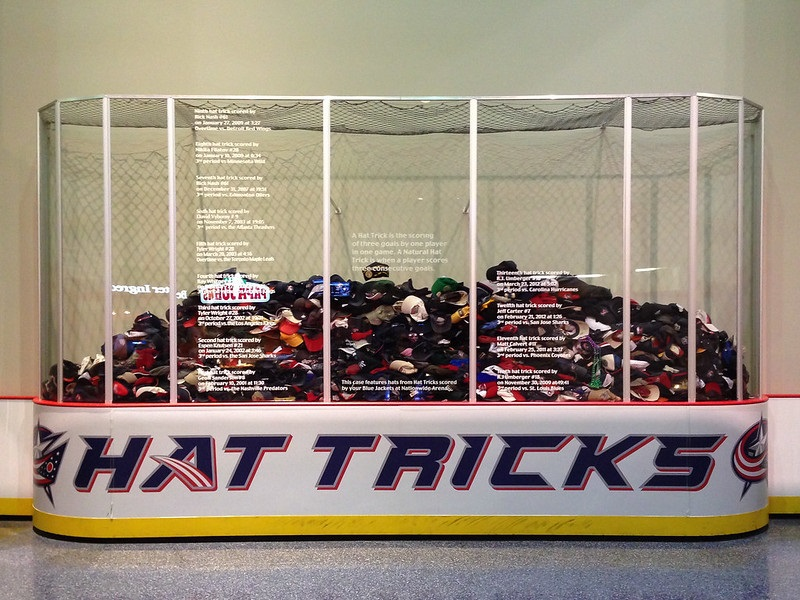 Photo of the hat trick display at Nationwide Arena. Home of the Columbus Blue Jackets.