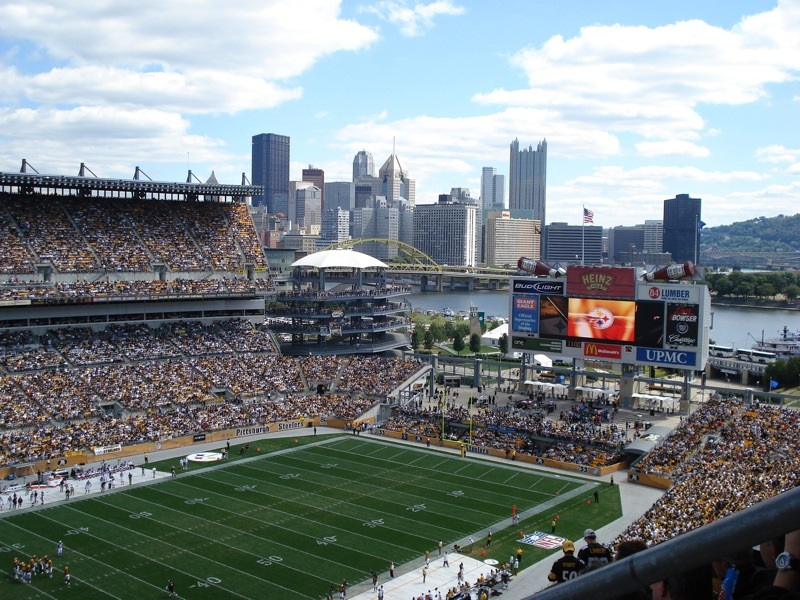 Photo of the scoreboard at Heinz Field. Home of the Pittsburgh Steelers.
