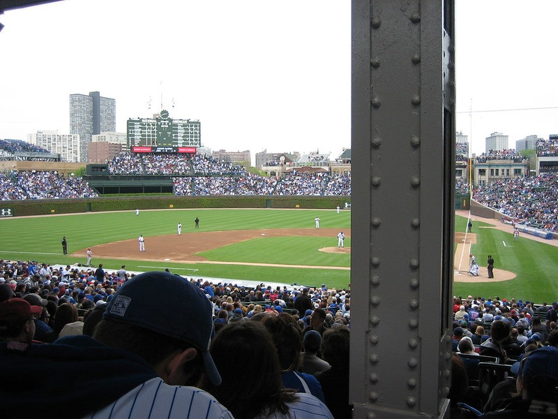 Photo taken from a seat at Wrigley Field that obstructs home plate.