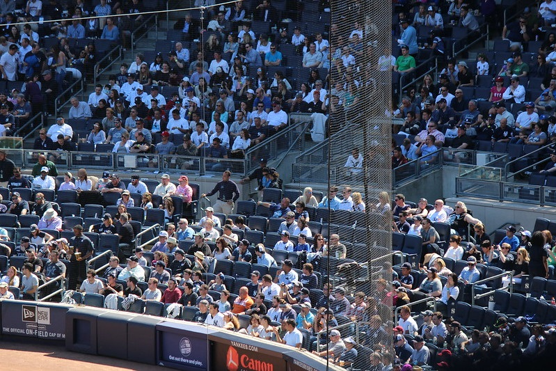 Photo of the netting behind home plate at Yankee Stadium. Home of the New York Yankees.