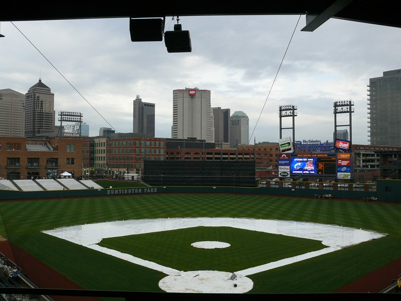 Photo of the playing field at Huntington Park. Home of the Columbus Clippers.