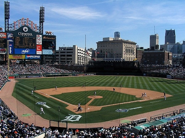 Photo of the infield at Comerica Park. Home of the Detroit Tigers.
