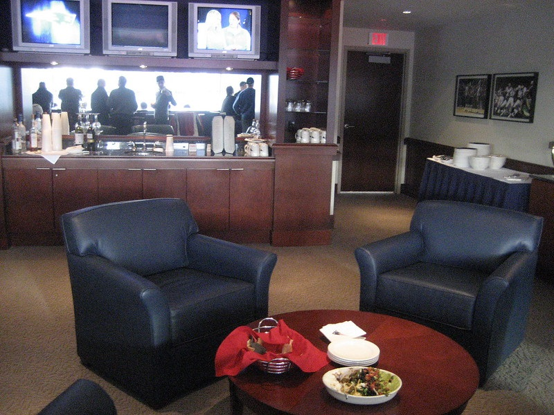 Interior photo of a luxury suite at Gillette Stadium. Home of the New England Patriots.