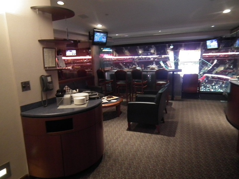 Photo of the interior of a luxury suite at Rocket Mortgage Fieldhouse. Home of the Cleveland Cavaliers.