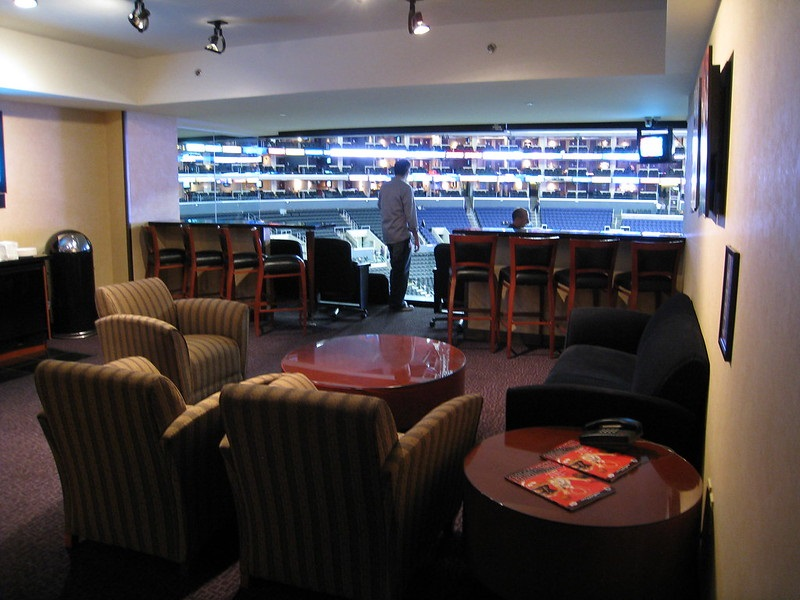Interior photo of a suite at the Staples Center during a Los Angeles Clippers game.