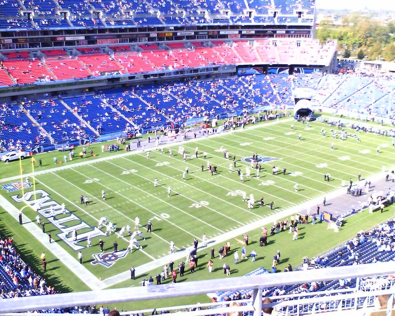 Photo of Nissan Stadium from the upper level seats before a Tennessee Titans game.