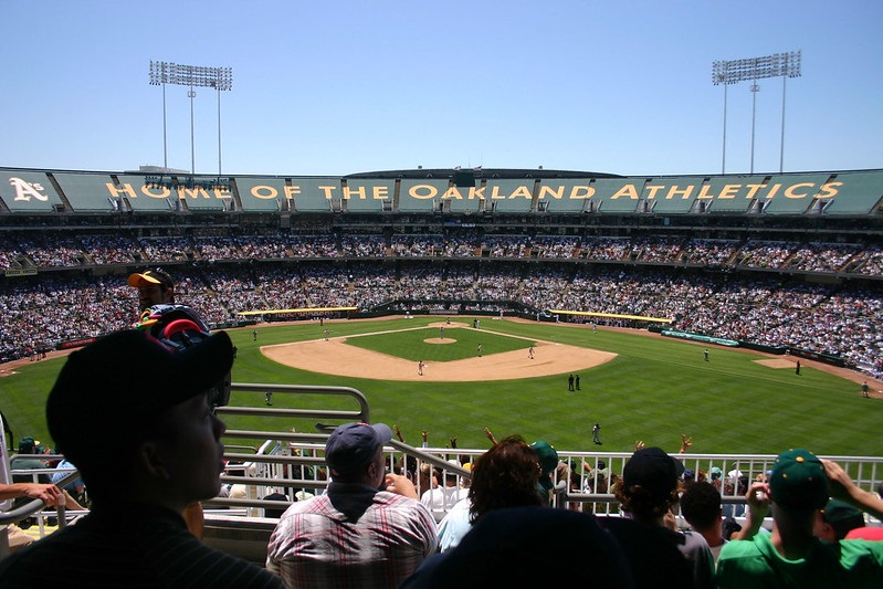 Photo taken from the outfield of Oakland Coliseum during an Oakland Athletics game.