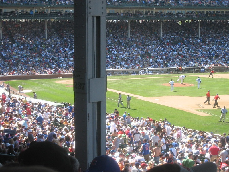 Photo taken from an obstructed view seat at Wrigley Field during a Chicago Cubs game.