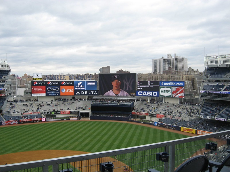 Photo of the outfield bleachers at Yankee Stadium.