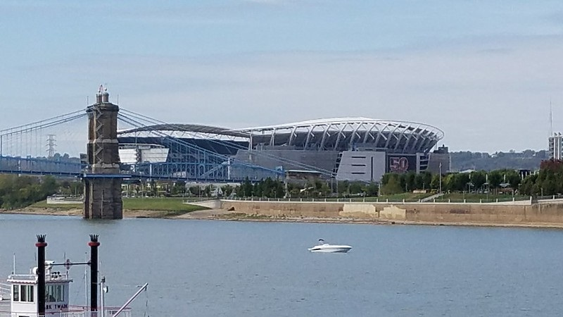 Photo of Paul Brown Stadium from across the Ohio River in Covington, Kentucky.