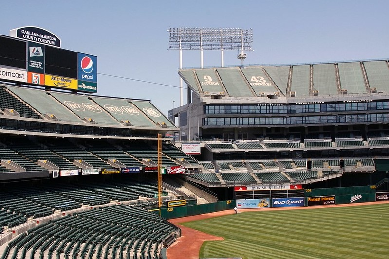 Photo of the outfield seating area at Oakland Coliseum. Home of the Oakland Athletics.