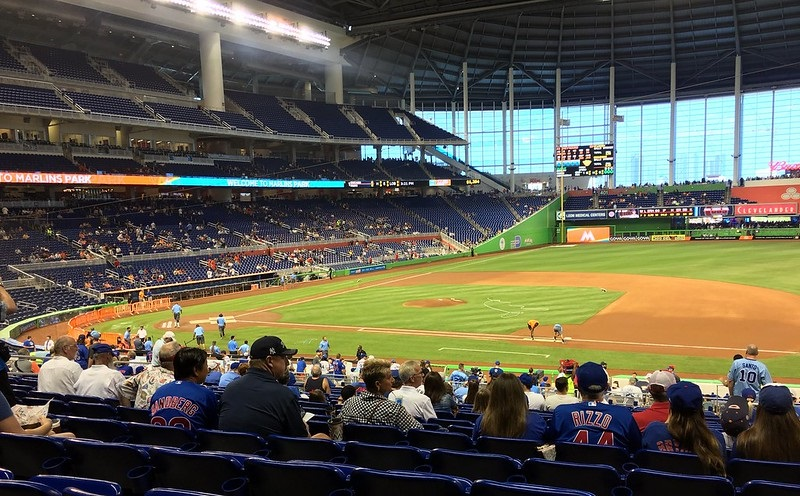 Photo of a poorly attended Miami Marlins game at Marlins Park.