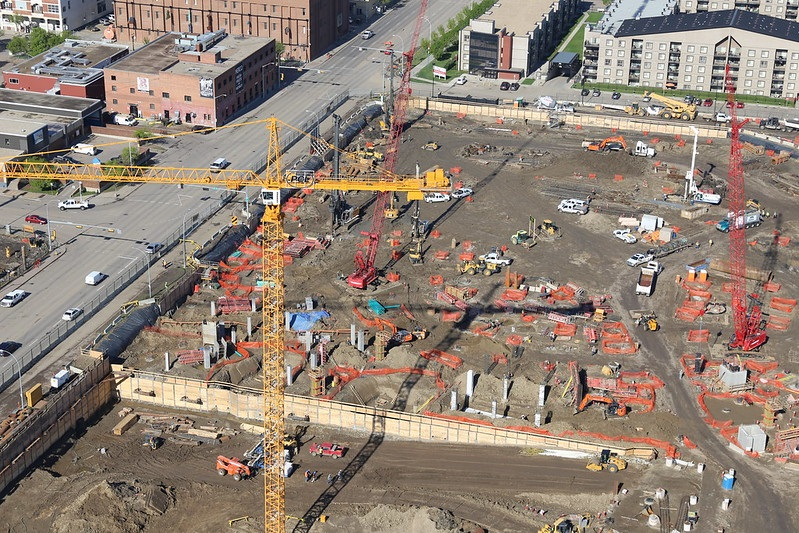 Aerial photo of Rogers Place construction. Future home of the Edmonton Oilers.