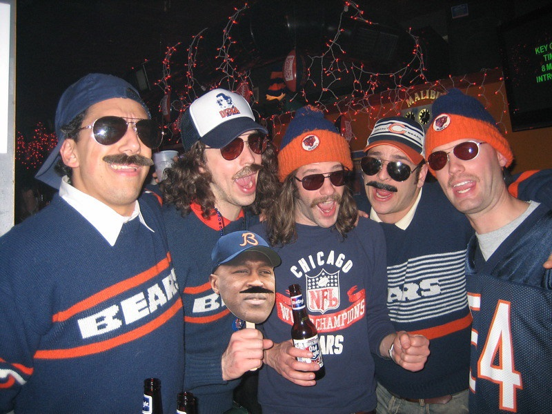 Photo of a group of rowdy Chicago Bears fans.