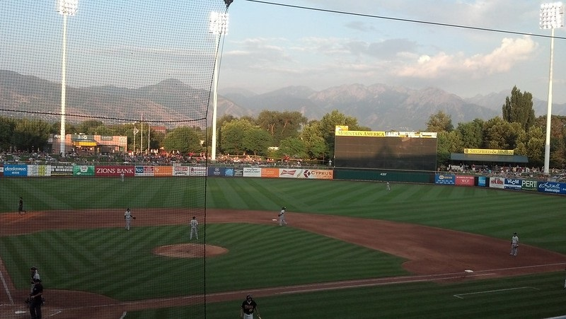 Photo of the playing field at Smith's Ballpark in Salt Lake City, Utah. Home of the Salt Lake Bees.