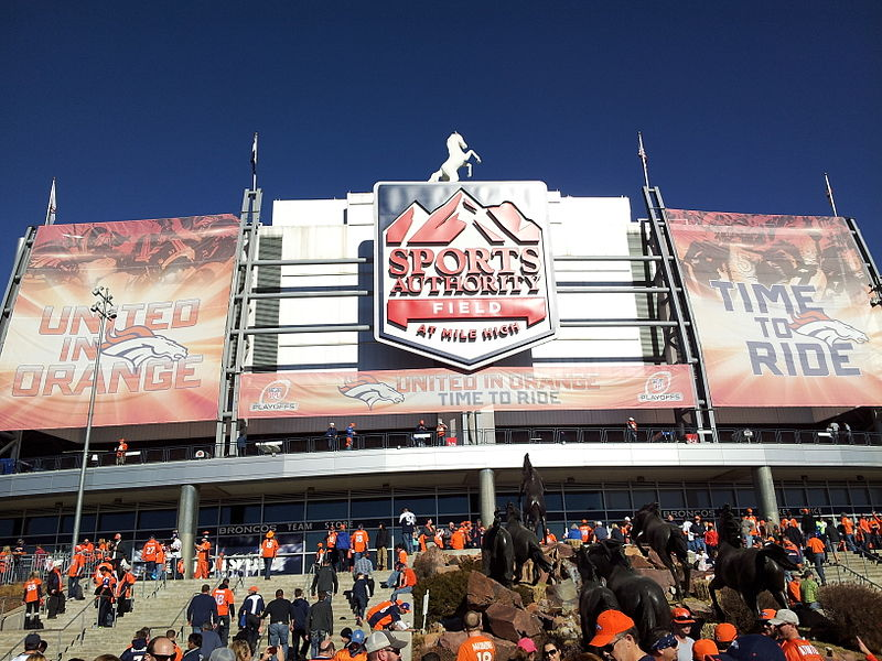 Photo of the main entrance at Sports Authority Field at Mile High. Home of the Denver Broncos.
