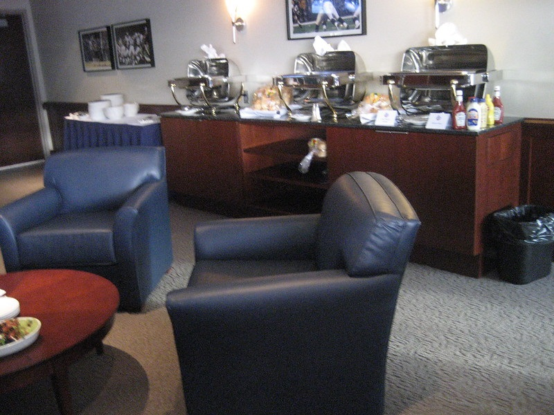 Photo of the interior of a luxury suite at Gillette Stadium. Home of the New England Patriots.