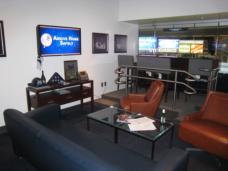 Interior photo of a luxury suite at Yankee Stadium. Home of the New York Yankees.