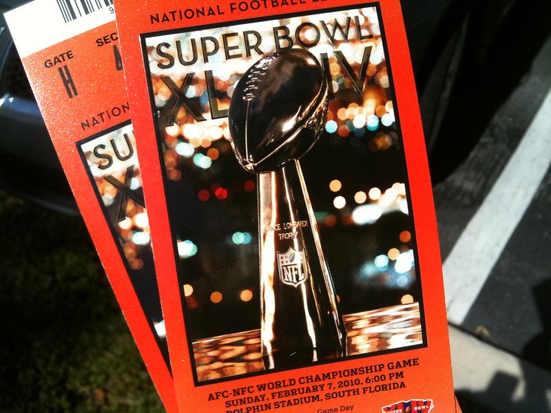Photo of a pair of Super Bowl tickets.