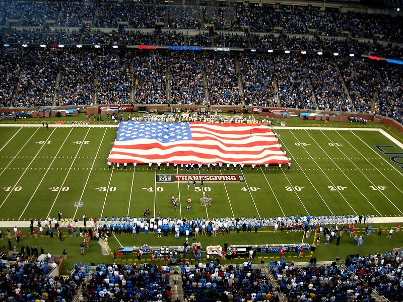 Photo of a Detroit Lions game at Ford Field on Thanksgiving Day.
