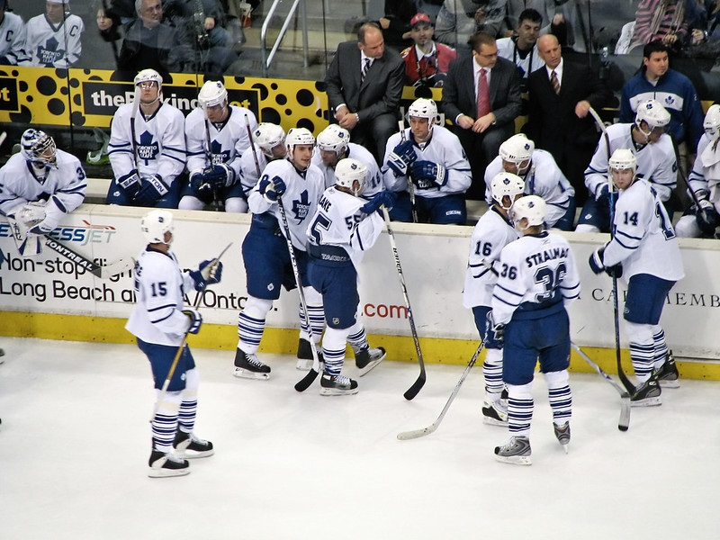 Photo of the Toronto Maple Leafs bench during a game.