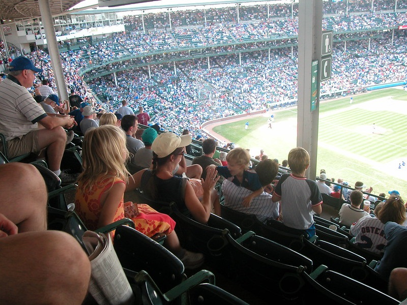 Photo taken from a seat with an obstruction on the upper level of Wrigley Field. Home of the Chicago Cubs.