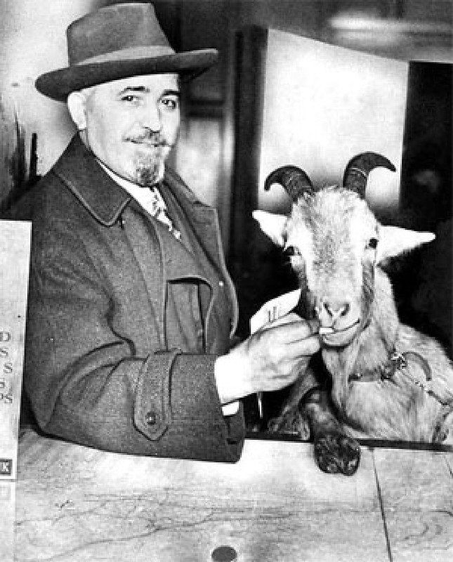 Photo of William Sianis and his Billy Goat.