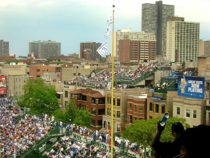 Photo of the Wrigleyville rooftops on Waveland Avenue outside of Wrigley Field.