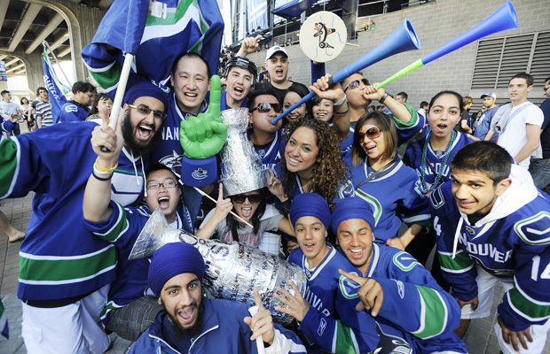 Photo of a group of Vancouver Canucks fans.